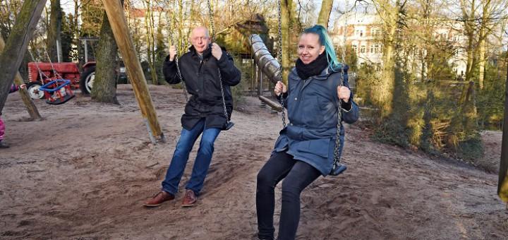Ralph Saxe und Kai-Lena Wargalla wollen mehr als nur Spielplätze in Bremen. Foto: Schlie