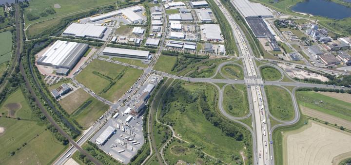 Luftaufnahme des Gewerbegebiets Hansalinie.