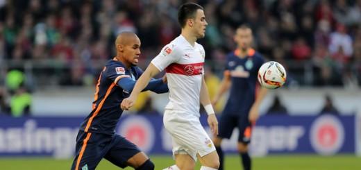 Das Hinspiel zwischen Werder und dem VfB Stuttgart endete 1:1-Unentschieden. Foto: Nordphoto