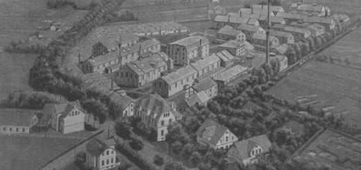 """Was wie eine Zeichnung aussieht, ist ein frühes Bild der Werksanlagen der """"Hansa""""an der Ochtumer Chaussee, das um 1905 aus einem Fesselballon heraus fotografiert wurde. Bildvorlage: Stadtarchiv Delmenhorst"""