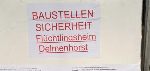 Baustellenschild am Flüchtlingsheim in Delmenhorst.