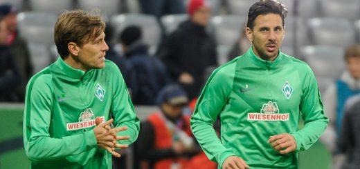 Geballte Routine bei Werder: Clemens Fritz (l.) ist 35, Claudio Pizarro 37 Jahre alt. Foto: Nordphoto