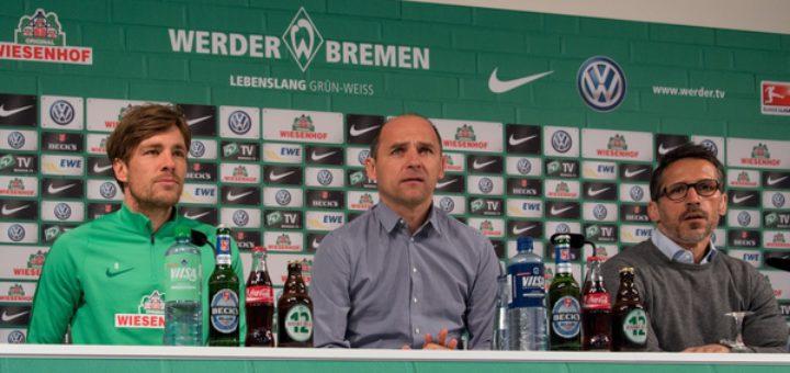 (v.l.) Clemens Fritz, Viktor Skripnik und Thomas Eichin bei der Pressekonferenz von Werder am Freitag. Foto: Nordphoto