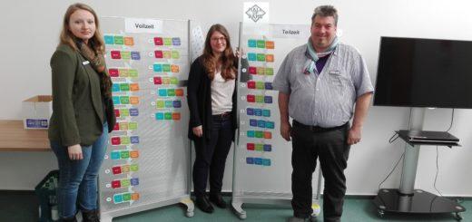 """Monika Dräger (links), Mareike Ruge und Andreas Koplin vom Projekt Netzwerk-ABC vor ihrer """"Ruhmeshalle"""" der erfolgreichen Vermittlungen.Foto: Lürssen"""