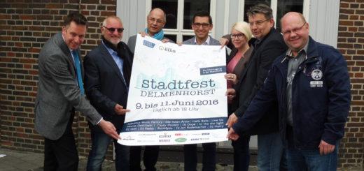 Stadtfestmacher: Wirtschaftsförderung und Sponsoren stellten das Programm für die Drei-Tage -Feier vom 9. bis 11. Juni vor. Foto: Lürssen