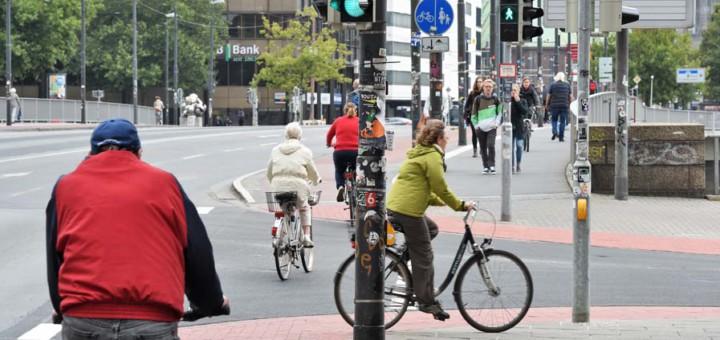 Radfahrer in der Bremer Innenstadt. Foto: WR