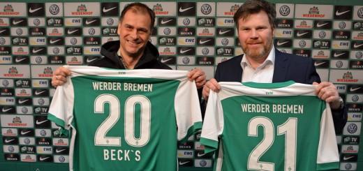 Werder-Geschäftsführer Klaus Filbry (l.) und Henner Höper von AB InBev wollen weitere fünf Jahre Partner sein.
