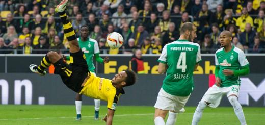 Mit diesem Fallrückzieher hatte Dortmunds Torjäger Pierre-Emerick Aubameyang kein Glück. Nach dem Seitenwechsel traf der Gabuner zur 1:0-Führung für die Gastgeber. Foto: nph