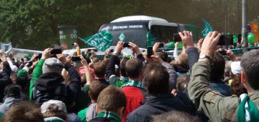 Umjubelt: Der Mannschaftsbus trifft vor dem Stadion ein. Foto: Bohlmann
