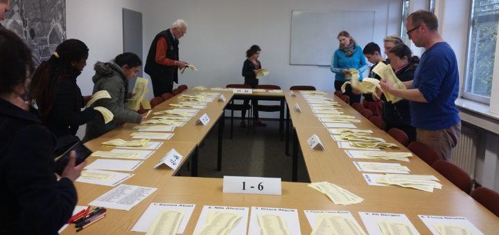 Bei der Auszählung der Stimmen für den Jugendbeirat in Huchting halfen Mitglieder des Beirats und freiwillige Jugendliche.