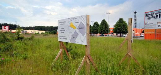 Die Lücke zwischen Kaufland und Obi möchte ein 1.000 Quadratmeter großer Sonderpostenmarkt füllen. Ein neuer Bebauungsplan soll das verhindern.Foto: Konczak