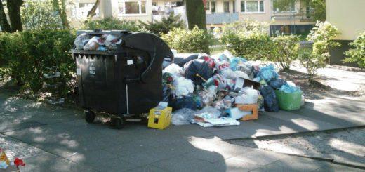 Die Müllcontainer am Oldeeoog reichen für den Müll nicht aus. Immobilienverwalter Heuschrecken Investoren von außerhalb kümmern sich nicht um das Viertel Kriminalität steigt Broken-Window-Effekt Huchting Robinsbalje Ghetto