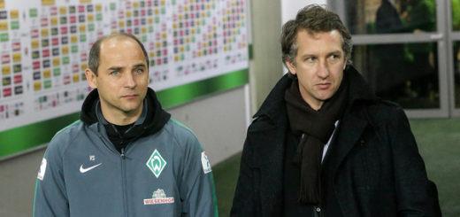 Eine der ersten Entscheidungen von Frank Baumann (r.) wird sein, ob Viktor Skripnik weiter Cheftrainer beim SV Werder bleibt. Foto: Nordphoto
