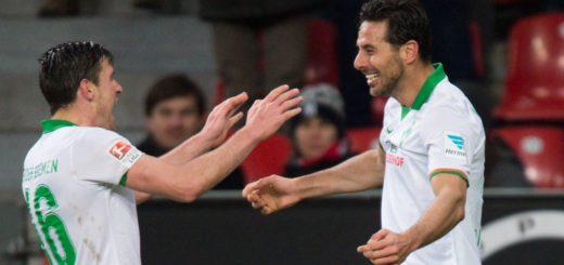 Die Topscorer des SV Werder in den vergangenen Wochen: Zlatko Junuzovic (l.) und Claudio Pizarro. Foto: Nordphoto