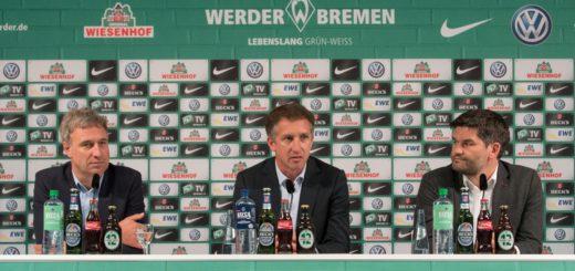 Werders Geschäftsführer Frank Baumann stellte sich im Medienraum den Fragen der Pressevertreter. Foto: Nordphoto