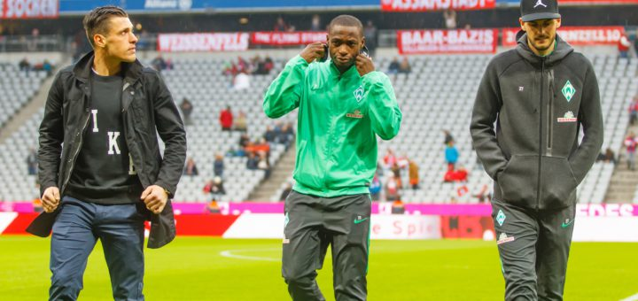 Zlatko Junuzovic (l.) und Anthony Ujah (M.) könnten Werder in der Sommerpause verlassen. Florian Grillitsch steht bei Mönchengladbach hoch im Kurs. Foto: Nordphoto