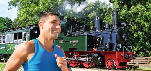 Kann ein Läufer die Lok auf der Museumseisenbahn schlagen? Foto: Wettlauf-Mensch-Maschine