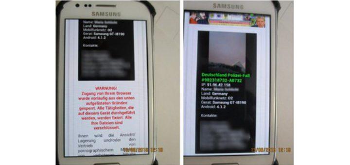 So sieht der Sperrbildschirm aus, den das Smartphone-Virus auf die Geräte schickt. Foto: Verbraucherzentrale Niedersachsen
