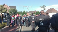 Polizeiaufgebot vor dem Hamme Forum in Ritterhude. Foto: Sieler