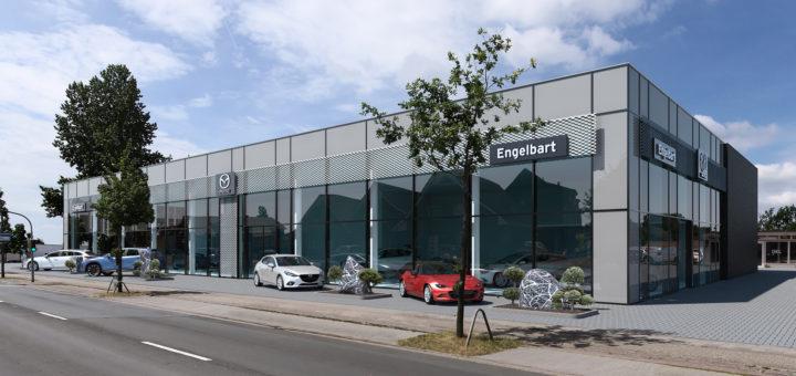 Animation des neuen Autohauses für die Marke Mazda an der Annenheider Straße in Delmenhorst. Grafik: pv Grafik: pv