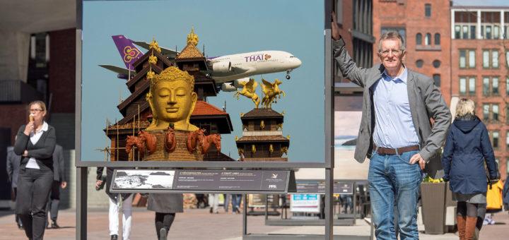 """Dietmar Plath hat sich einst vorgenommen, von jeder Reise mindestens """"das eine besondere Luftfahrt-Foto"""" mitzubringen. Davon zeugen seine großformatigen Exponate der Ausstellung """"Up and away"""".Foto: pv"""