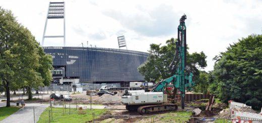Vor dem Weserstadion ist derzeit eine Großbaustelle, um das Stadion vor Hochwasser zu schützen, die Pokémon Go-Tour kann deswegen dort nicht starten. Foto: WR