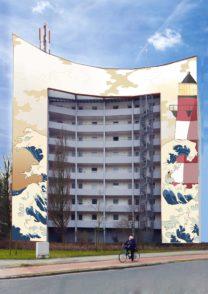 """""""Lichtblick"""" heißt der Gewinnerentwurf, der Auf den Kahlken im Ortsteil Sodenmatt in Huchting realisiert wird. Mara Harjes, Henri Giesen, Lackyscha Schilling und Nils Monsees, vier Schüler der Fachoberschule für Gestaltung Wilhelm-Wagenfeld-Schule, haben ihn nach Gesprächen mit Bewohnern gestaltet. Die Gewoba und die Stadtteilgruppe zahlen die Umsetzung, die Gestaltungsagentur Lucky Walls hat das Projekt mit den Schülern ins Leben gerufen. Wandbild Fassade Wandgemälde"""