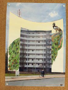"""Wilhelm-Wagenfeld-Schule Wandgemälde Wandbild zweiter Platz """"Der Pfau"""""""