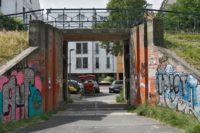 """Abfahrt von der """"Fahrradautobahn"""" ins Buntentor: der Deichschart. Foto: Barth"""