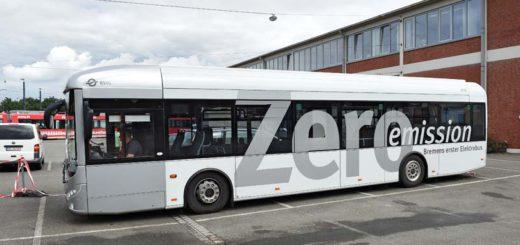 Der neue Elektrobus der BSAG im Depot. Foto: Schlie