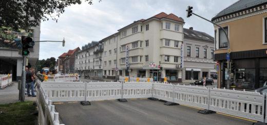 Blick auf die Baustelle in der Mühlenstraße in Delmenhorst.