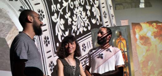 Islam Shabana, Engy Aly und Amr El Alamy (v.l.) stellen eine audio-visuelle Performance sowie Drucke in der Remise des Hauses Coburg aus.Foto: Konczak