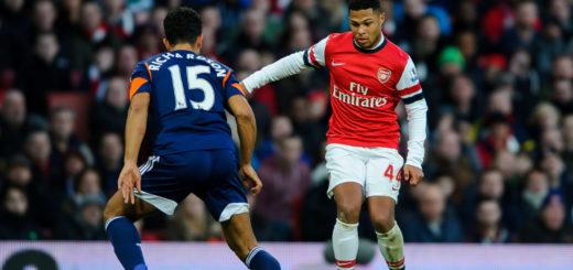 Serge Gnabry (r.) im Trikot des Arsenal FC. Für die Londoner machte das Offensivtalent zehn Spiele in der Premier League. Foto: Nordphoto