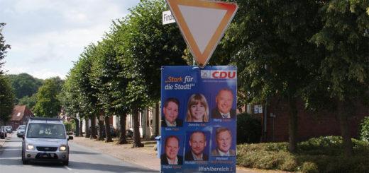 An Pfählen von Verkehrzeichen darf keine Plakatwerbung gehängt werden, das hat die Kreisverwaltung den Parteien auch in der Vorbereitung auf den Wahlkampf erklärt. Foto: Möller