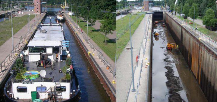 Normalerweise werden große Binnenschiffe in Hemelingen geschleust. Ab Montag ist die Schleuse aber eine Sackgasse. Foto: pv
