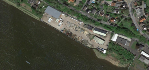 Das Gelände der ehemaligen Sarstedt-Werft. Luftbild: Google Earth