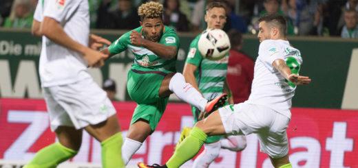 Serge Gnabry (M.) hatte gegen Wolfsburg wieder einige gute Szenen, bereitete auch den Ausgleich durch Lennart Thy vor.Foto: Nordphoto