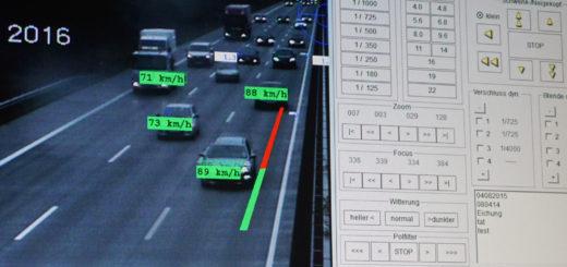 Live-Bild des Abstandsmesssystems während des ersten Einsatzes an der A 1 Foto: Bruns