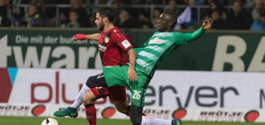 Lamine Sané (r.) machte gegen Leverkusen ein starkes Spiel, war Turm in der Schlacht. Foto: Nordphoto