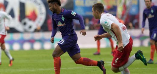 Serge Gnabry (l.) gelang mit seinem dritten Saisontor der Anschlusstreffer für Werder. zu mehr reichte es nicht. Foto: Nordphoto