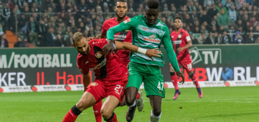 Mit seinem ersten Bundesligator schoss Werders Nachwuchsstürmer Ousman Manneh seine Mannschaft zum Sieg gegen Bayer Leverkusen. Foto: Nordphoto