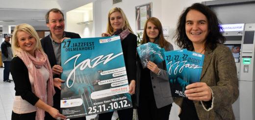 Die Förderer und Organisatoren des Delmenhorster Jazzfestes freuen sich wieder auf die nächste Ausgabe des Kultevents, das Jahr für Jahr Gäste aus dem ganzen Nordwesten in die Stadt lockt. Foto: Konczak