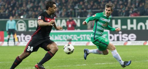 Werders Flügelstürmer Fin Bartels (r.) erzielte den Siegtreffer gegen Ingolstadt. Foto: Nordphoto