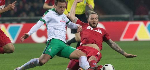 Knallharter Zweikampf im Mittelfeld: Werders Philipp Bargfrede (l.) gegen den Kölner Milos Jojic. Foto: Nordphoto