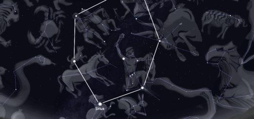 Das Wintersechseck mit dem hell leuchtenden Stern Sirius ist eine der Besonderheiten am nächtlichen Dezemberhimmel.Gestaltung: Vogel/Olbers-Planetarium