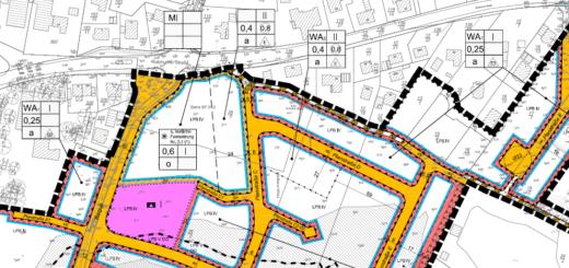 Ausschnitt aus dem Bebauungsplan Nr. 242 mit der als Mischgebiet ausgewiesenen Fläche im Norden an der Nutzhorner Straße.Ausschnitt: Gemeinde Ganderkesee/NWP