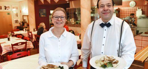 """Bettina Schindler und Luigi Derosa sorgen für freundlichen Service im """"Il Gattopardo"""". Foto: Schlie"""
