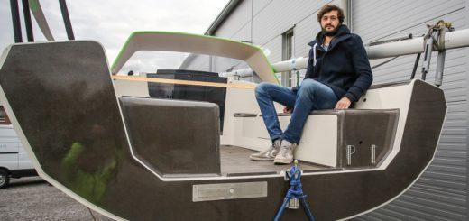 Bootsbauer Friedrich Deimann hat ein Boot gebaut, das nur aus natürlichen Materialien besteht. Foto: Pressedienst Bremen