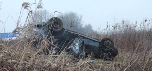 Offenbar alkoholisiert endet die Fahrt für zwei junge Männer im Schilf an der A27. Foto: Polizei Bremen