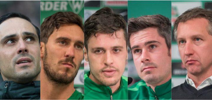Alexander Nouri, Santiago Garcia, Zlatko Junuzovic, Fina Bartels und Frank Baumann (v.l.) - Gesichter des Niedergangs von Werder. Foto: nph